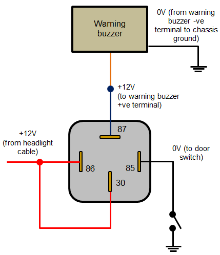 mini relay wiring diagram headlamp warning buzzer