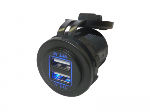 Twin Port Fast Charge USB Power Socket With Blue LED (5V, 4.8A)