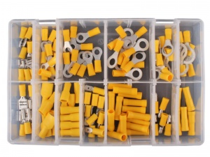 110 Piece Yellow Pre-Insulated Crimp Terminal Assortment Kit