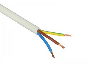 3-Core Flexible PVC Mains Cable - 2.5mm² 20A - White (by the metre)