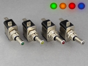 ON/OFF Toggle Switch, Lever Tip Illumination - 25A@12V