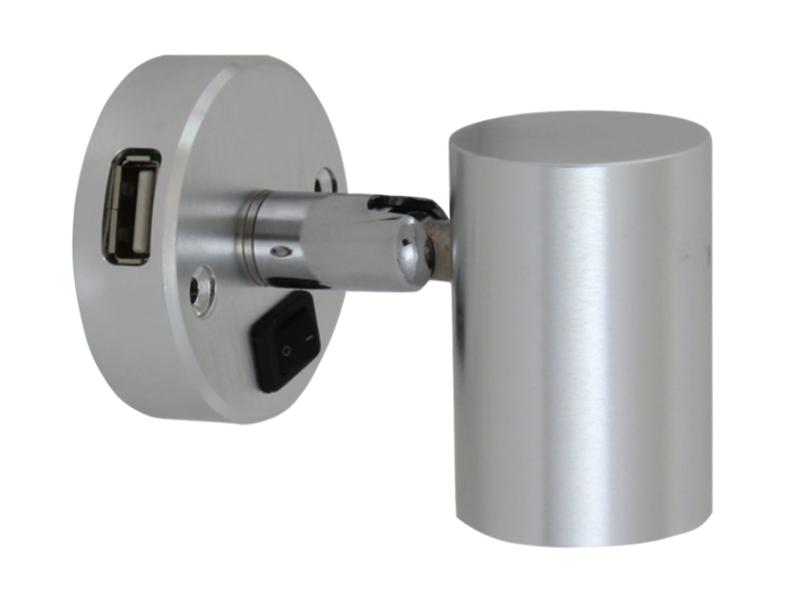 minitube 12v led spot light with usb socket 12 volt planet. Black Bedroom Furniture Sets. Home Design Ideas