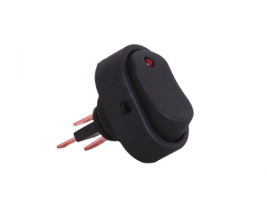 ON/OFF Oval Rocker Switch With Red Light - 12V