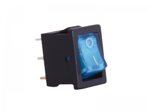 ON/OFF Rectangular Mini Rocker Switch With Illuminated Blue Lens - 12V