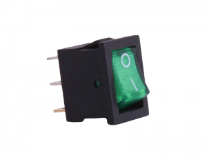 ON/OFF Rectangular Mini Rocker Switch With Illuminated Green Lens - 12V