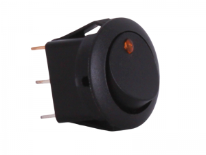 ON/OFF Round Mini Rocker Switch With Amber Light - 12V