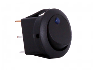 ON/OFF Round Mini Rocker Switch With Blue Light - 12V