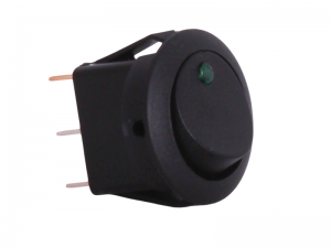 ON/OFF Round Mini Rocker Switch With Green Light - 12V