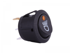 ON/OFF Round Mini Rocker Switch With Headlight Symbol & Amber Light - 12V