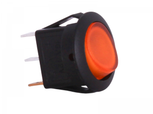 ON/OFF Round Mini Rocker Switch With Illuminated Amber Lens - 12V