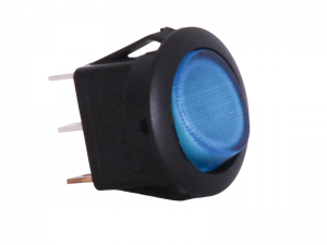 ON/OFF Round Mini Rocker Switch With Illuminated Blue Lens - 12V