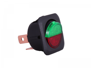 ON/OFF Round Rocker Switch With Red/Green Illuminated Lens - 12V