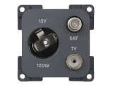 CBE 12V (Auto) Power Socket, TV + SAT - Grey