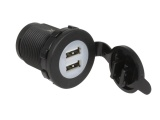 Panel Mount Twin USB Power Socket - 12V/24V (5V, 2.1A)