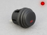 ON/OFF Push Switch, Round, Red LED Illumination - 10A@12V
