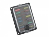 Waterproof Panel Mount Standard Blade Fuse Box With LEDs - 10 Way