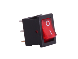 ON/OFF Rectangular Mini Rocker Switch With Illuminated Red Lens - 12V