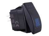 Waterproof ON/OFF Rectangular Marine Rocker Switch With Blue Illumination - 12V / 24V