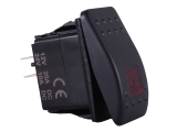 Waterproof ON/OFF Rectangular Marine Rocker Switch With Red Illumination - 12V / 24V