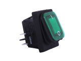 Waterproof ON/OFF Rectangular Rocker Switch With Illuminated Green Lens - 12V